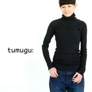 ツムグ(tumugu)のtumugu  ランダムリブニット タートルネック(カットソー(長袖/七分))