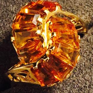 K18 オレンジ色の石の指輪(リング(指輪))