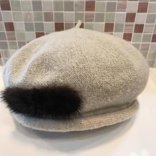 アトリエブルージュ(atelier brugge)のatelier bruggeリボンファー付きベレー帽 (ハンチング/ベレー帽)