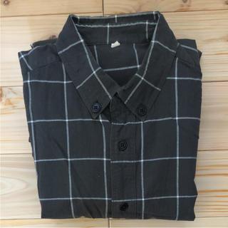 MUJI  無印良品  チェックシャツ (グレー×ホワイト) メンズLサイズ