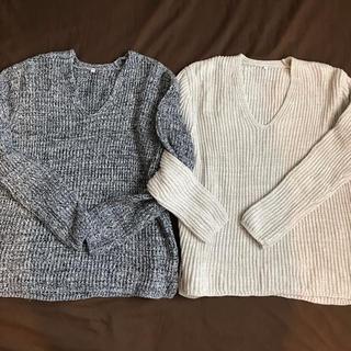 ムジルシリョウヒン(MUJI (無印良品))の【2枚セット】MUJI オーガニックコットン畦編みセーター(ニット/セーター)