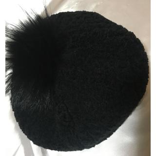 バーバリーブルーレーベル(BURBERRY BLUE LABEL)のバーバリーブルーレーベル★ボアベレー帽ファー付き(ハンチング/ベレー帽)
