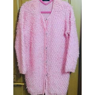 グローゼ(GROWZE)のGROWZE もこもこコート 冬服 上着 ガウン ニット ピンク シェリーメイ(ガウンコート)