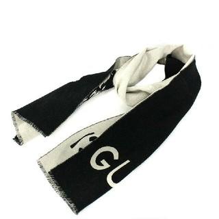 Gucci - グッチ GUCCI  ウルフジャガードマフラー ブラック×グレー