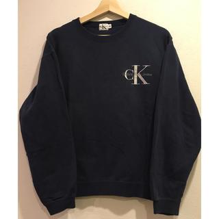 カルバンクライン(Calvin Klein)の格安希少 USA製 Calvin Kleinスウェット 刺繍ロゴ ネイビー(スウェット)