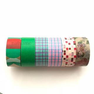 エムティー(mt)のまとめ売り マスキングテープ カモ井 ガチャ 色面構成 方眼 タイル ピンク 花(テープ/マスキングテープ)