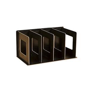 ZERONOWA 本立て ブックスタンド 木製 オフィス (ブラック)   (オフィス収納)