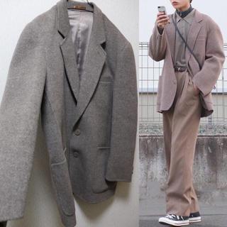 オーバーサイズ ウールジャケット グレージュ(テーラードジャケット)
