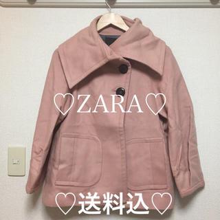 ザラ(ZARA)の送料込★ZARA★美品★ピンクビッグ襟コート(その他)