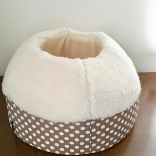 ペット用ベッド 猫 子犬 ドット柄(ブラウン)
