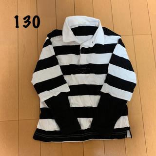ジーユー(GU)のジーユー 130㎝ ボーダーTシャツ 重ね着風 長袖 GU(Tシャツ/カットソー)