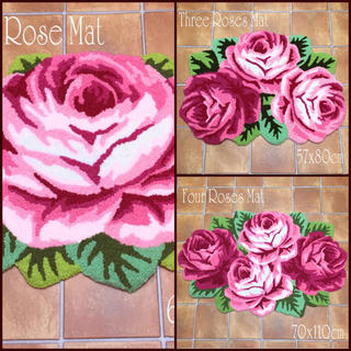 3枚セット!大きな薔薇 ラグマット・玄関マット ローズ フロアマット(玄関マット)