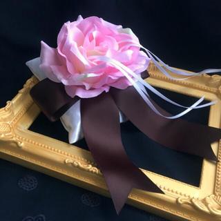 リングピロー【チョコレートブラウンのリボンとローズ】結婚式 ウェディング ローズ(リング(指輪))