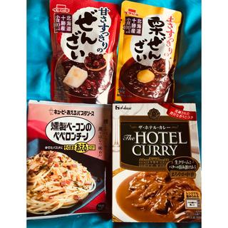 ハウスショクヒン(ハウス食品)の燻製ベーコンペペロンチーノ☆ホテルカレー☆ぜんざい2人前☆のセット☆お値下げ☆(レトルト食品)