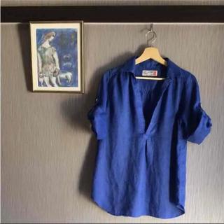 ロペピクニック(Rope' Picnic)のロペピクニック リネン チュニック ブラウス 美品 青 Mサイズ(シャツ/ブラウス(長袖/七分))