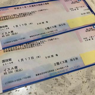 大相撲20191月場所国技館椅子A席ペア1/17(相撲/武道)