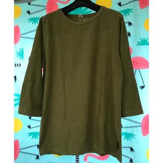 ゴーヘンプ(GO HEMP)のGO HEMP フットボールTシャツ S オリーブ ヘンプコットン フェス(Tシャツ/カットソー(七分/長袖))