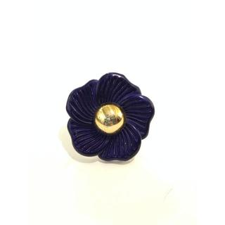 ビッグ ゴールド × ブルーペタル お花 デザイン リング 指輪 ヴィンテージ (リング(指輪))