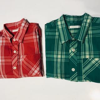 ジーユー(GU)のGU キッズ チェックシャツ 2枚セット(120cm)(Tシャツ/カットソー)