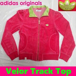 アディダス(adidas)のアディダス ベロア素材トラックトップ ジャケットM桃トレフォイル三つ葉ロゴ(ブルゾン)