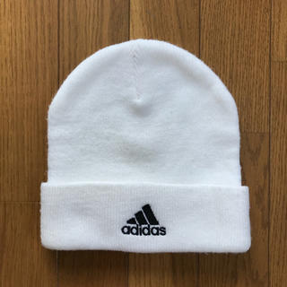 アディダス(adidas)のアディダス ニット帽 / 白 ホワイト(ニット帽/ビーニー)