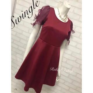 スウィングル(Swingle)のスウィングル 袖チュール3連リボンドレス リランドチュール ダズリン ミーア(ミディアムドレス)