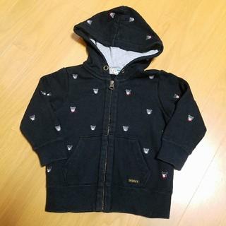 ダブルビー(DOUBLE.B)のダブルビー90 プチベアパーカー 黒ブラック ミキハウス(Tシャツ/カットソー)