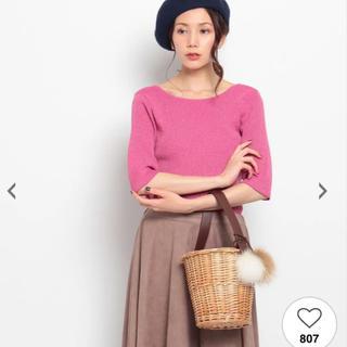 アクアガール(aquagirl)の新品♡アクアガール 2wayニットトップス ラメ Vネック ピンク 五分丈(ニット/セーター)