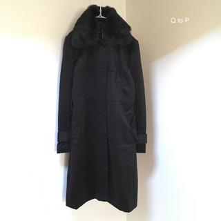 キュートゥーピー(QTOP)の新品 Q to P ラビットファー襟のロングコート ダークブラウン フォーマル(ロングコート)