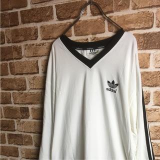 アディダス(adidas)のビッグシルエット! 90s adidas サッカー 長袖 ロンTシャツ 白 黒(Tシャツ/カットソー(七分/長袖))