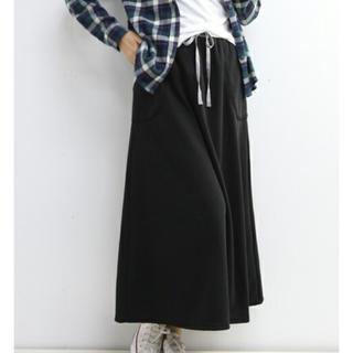 アルピーエス(rps)の新品 r.p.s ロングスカート ポケット付 裏毛 マキシスカート 黒 ロンスカ(ロングスカート)