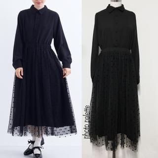 merlot - 新作♡ メルロープリュス ドットチュール レイヤード ドッキング ドレス