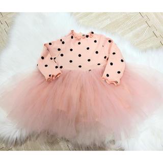 プティマイン(petit main)のチュールワンピース ピンク 80サイズ(セレモニードレス/スーツ)