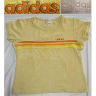アディダス(adidas)のビンテージadidasデサント80sパイル地Tシャツ■Mサイズ黄ライトブラウン(Tシャツ(半袖/袖なし))