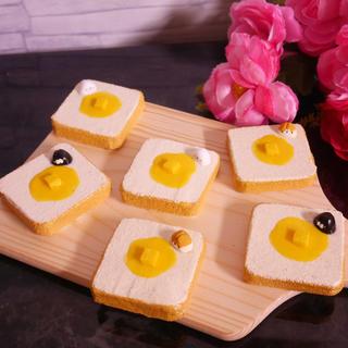 黒猫ミニバタートースト 手作りスクイーズ ハンドメイド(その他)