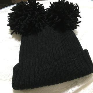 Disney - 【美品♡】 ポンポン付き ニット帽 黒 ♡ ミッキー ディズニーにも 暖かい