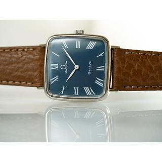 オメガ(OMEGA)の美品 オメガ ジュネーブ スクエア シルバー ネイビー 手巻き メンズ(腕時計(アナログ))