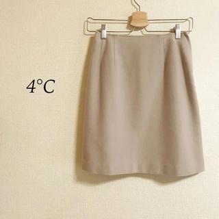 ヨンドシー(4℃)の4°C   タイトスカート  ベージュ  ウール100%  サイズM(ひざ丈スカート)