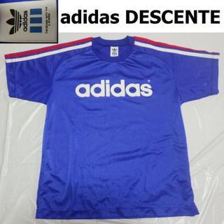 アディダス(adidas)のadidasデサント90sビンテージ ゲームシャツM-LドライTシャツ青ブルー(Tシャツ/カットソー(半袖/袖なし))