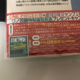 one piece 91巻 応募券(少年漫画)