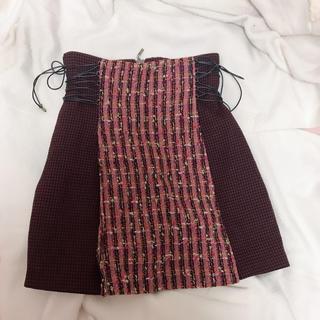 Lily Brown - サイドレースアップ台形スカート