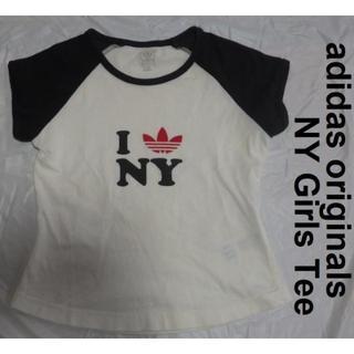 アディダス(adidas)のadidas trefoil NY GIRL TEEショート丈TシャツXS白/黒(Tシャツ(半袖/袖なし))