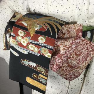 オリジナルリバーシブル正絹半幅帯 鳥刺繍ヱ霞と総絞り(帯)
