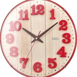 ★限定価格★レトロ感かわいい★ フェリオ 掛け時計 レッド(掛時計/柱時計)