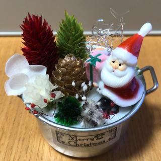 Xmasミニ缶✿サンタ付き✿アロマワックスサシェ(アロマ/キャンドル)