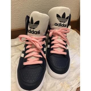 アディダス(adidas)のアディダス ハイカットスニーカー☆室内履きのみ美品☆24.5  ネイビー(スニーカー)