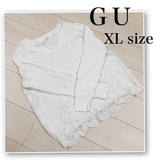 ジーユー(GU)のGU♡薄手 セーター♡レース♡Vネック♡白♡UNIQLO.INGNI.H&M(ニット/セーター)