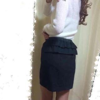 【後ろフリル】ウール地スカート☆グレー☆F
