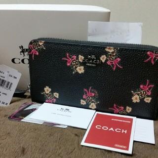 COACH - COACH 28444黒の花柄可愛い長財布新品未使用