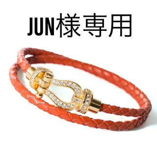 JUN様専用 二連巻きホースシューブレスレット オレンジ(ブレスレット)